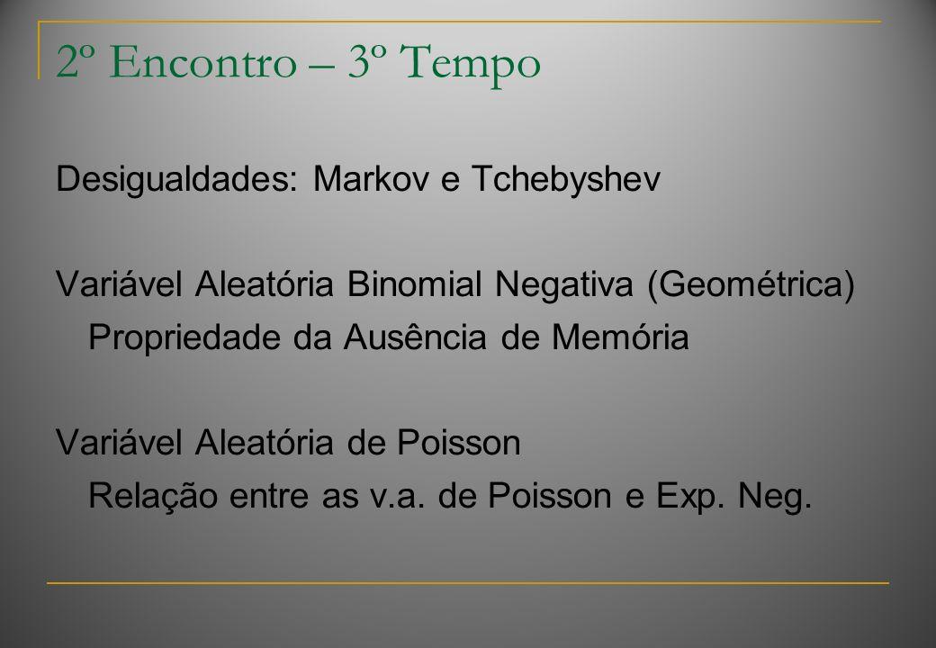 2º Encontro – 3º Tempo Desigualdades: Markov e Tchebyshev Variável Aleatória Binomial Negativa (Geométrica) Propriedade da Ausência de Memória Variáve