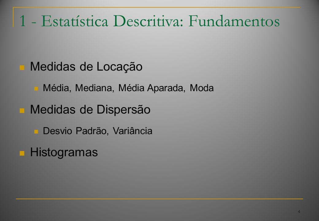 4 1 - Estatística Descritiva: Fundamentos Medidas de Locação Média, Mediana, Média Aparada, Moda Medidas de Dispersão Desvio Padrão, Variância Histogr