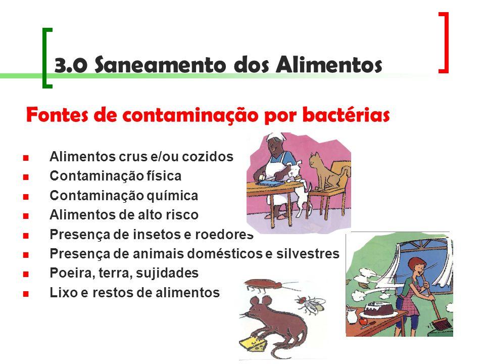 3.0 Saneamento dos Alimentos Alimentos crus e/ou cozidos Contaminação física Contaminação química Alimentos de alto risco Presença de insetos e roedor