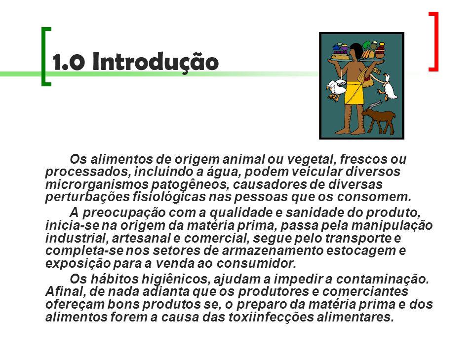 1.0 Introdução Os alimentos de origem animal ou vegetal, frescos ou processados, incluindo a água, podem veicular diversos microrganismos patogêneos,