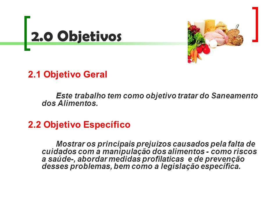 2.0 Objetivos 2.1 Objetivo Geral Este trabalho tem como objetivo tratar do Saneamento dos Alimentos. 2.2 Objetivo Específico Mostrar os principais pre