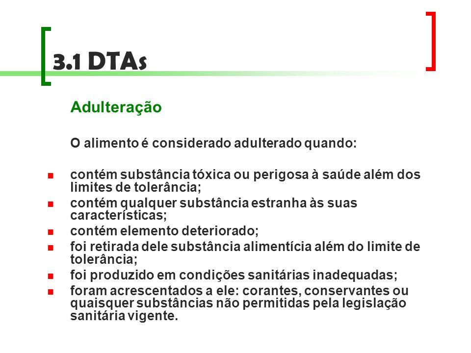 3.1 DTAs Adulteração O alimento é considerado adulterado quando: contém substância tóxica ou perigosa à saúde além dos limites de tolerância; contém q