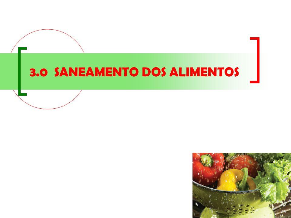 3.0 SANEAMENTO DOS ALIMENTOS