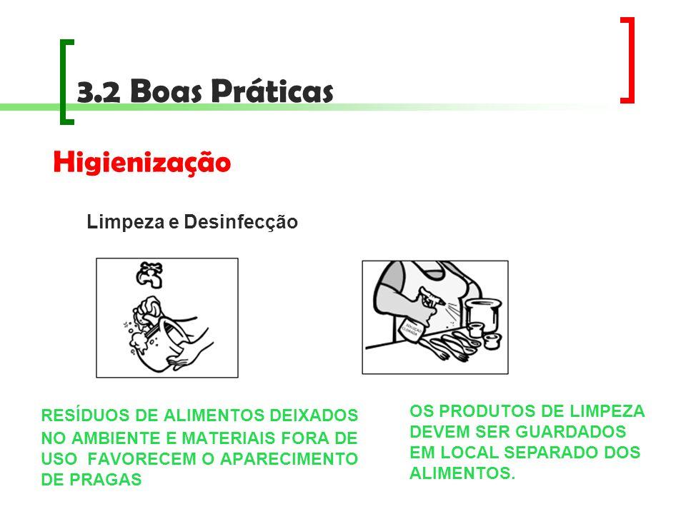 3.2 Boas Práticas RESÍDUOS DE ALIMENTOS DEIXADOS NO AMBIENTE E MATERIAIS FORA DE USO FAVORECEM O APARECIMENTO DE PRAGAS Higienização Limpeza e Desinfe