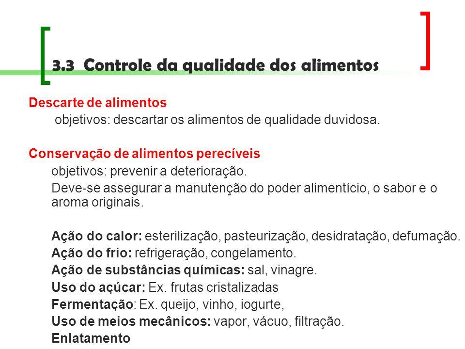 Descarte de alimentos objetivos: descartar os alimentos de qualidade duvidosa. Conservação de alimentos perecíveis objetivos: prevenir a deterioração.