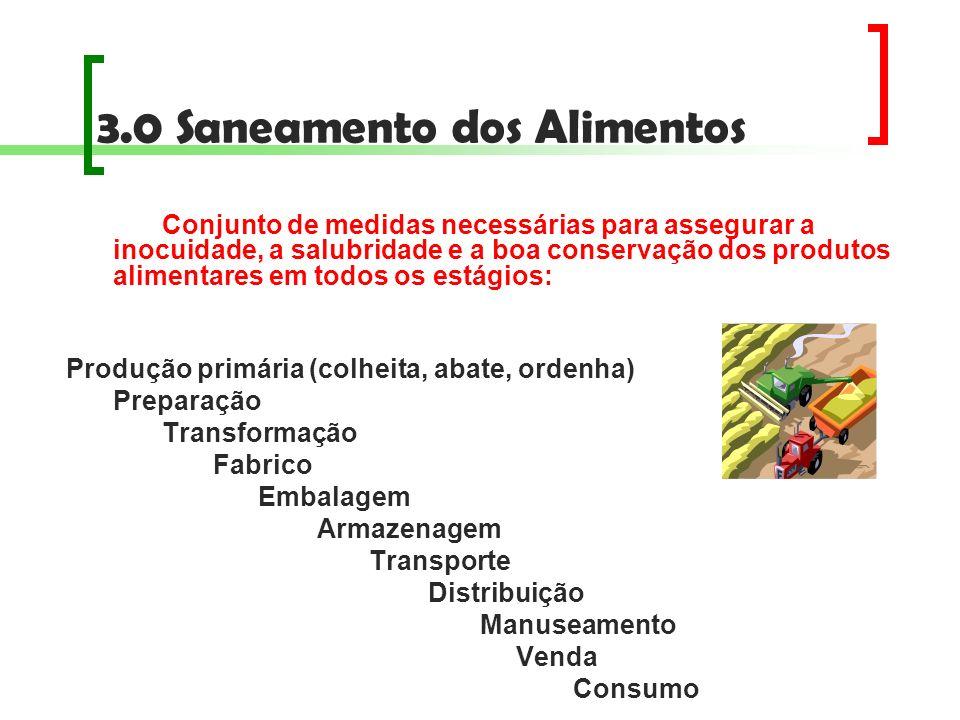 3.0 Saneamento dos Alimentos Conjunto de medidas necessárias para assegurar a inocuidade, a salubridade e a boa conservação dos produtos alimentares e
