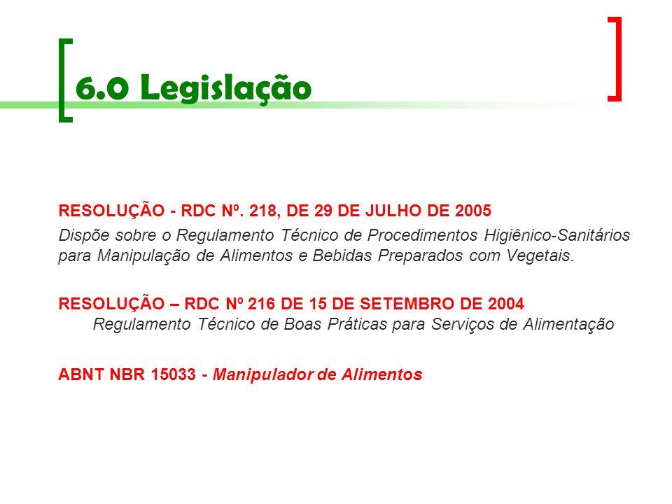 6.0 Legislação RESOLUÇÃO - RDC Nº. 218, DE 29 DE JULHO DE 2005 Dispõe sobre o Regulamento Técnico de Procedimentos Higiênico-Sanitários para Manipulaç