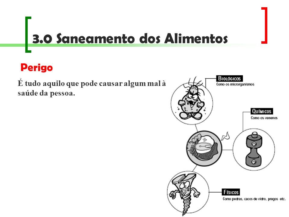 3.0 Saneamento dos Alimentos Medidas proteção dos alimentos contra qualquer contaminação; prevenção da multiplicação das bactérias; destruição das bactérias presentes no alimento; controle da alteração prematura do alimento.