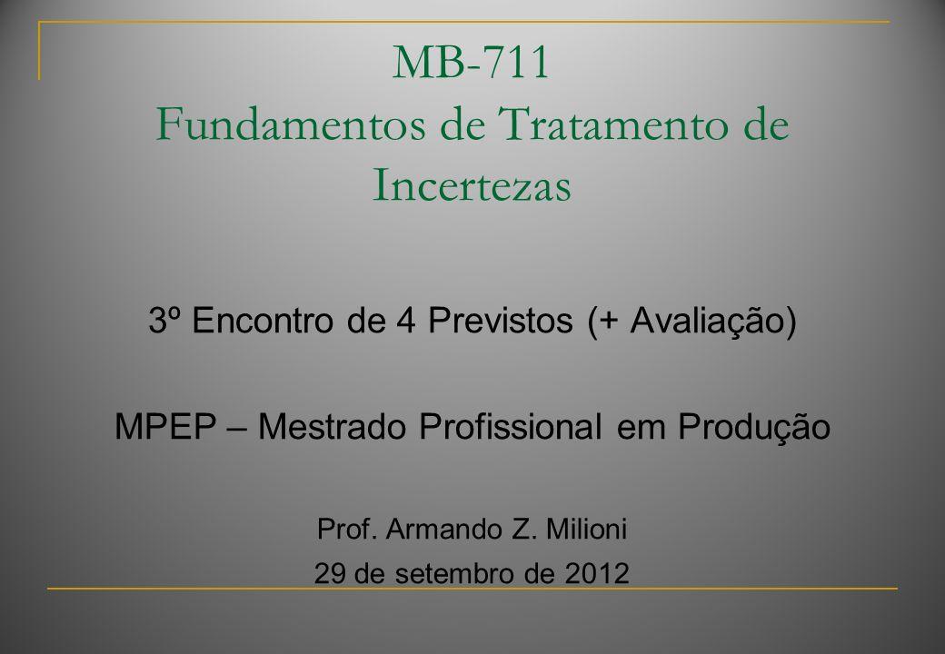 MB-711 Fundamentos de Tratamento de Incertezas 3º Encontro de 4 Previstos (+ Avaliação) MPEP – Mestrado Profissional em Produção Prof.