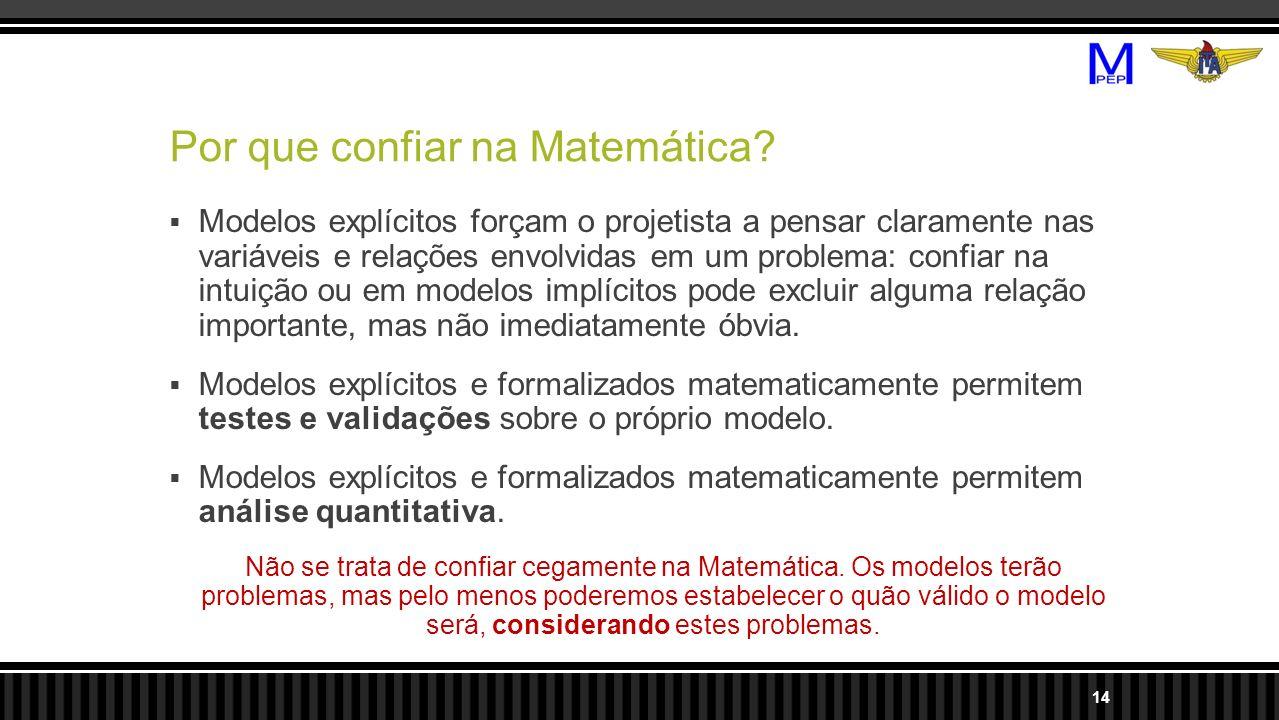Por que confiar na Matemática? Modelos explícitos forçam o projetista a pensar claramente nas variáveis e relações envolvidas em um problema: confiar