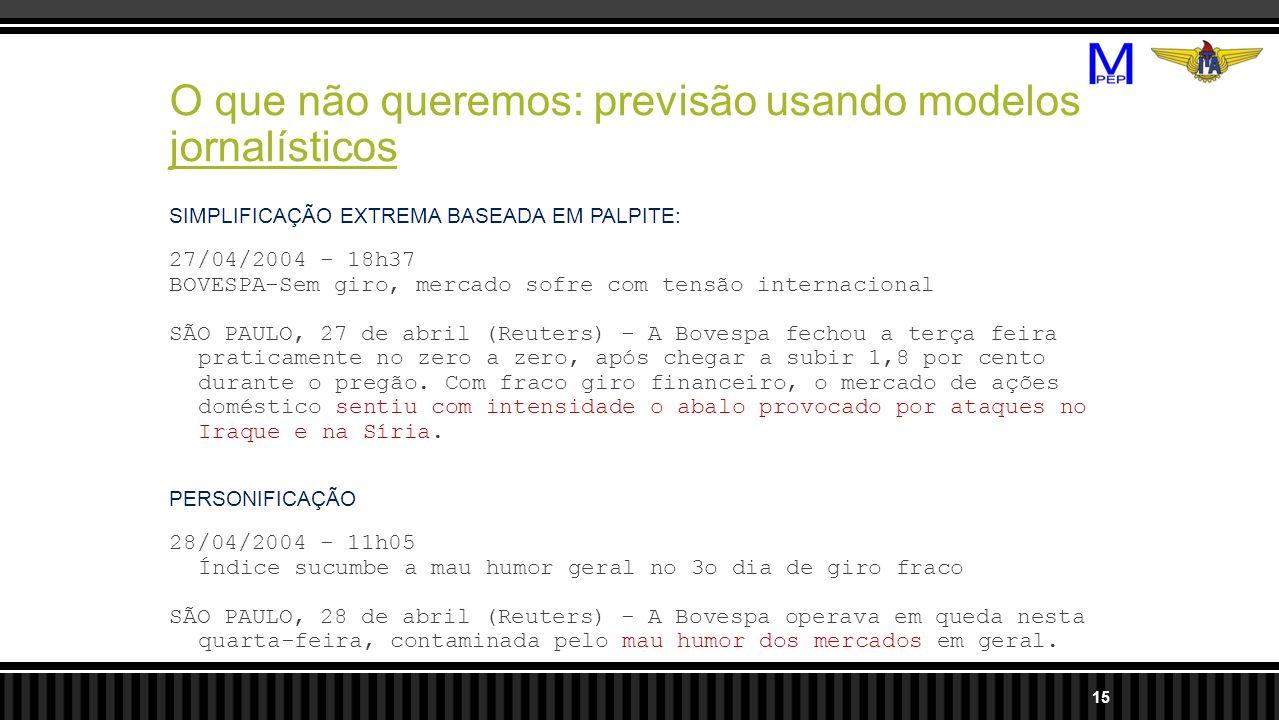 O que não queremos: previsão usando modelos jornalísticos SIMPLIFICAÇÃO EXTREMA BASEADA EM PALPITE: 27/04/2004 - 18h37 BOVESPA-Sem giro, mercado sofre