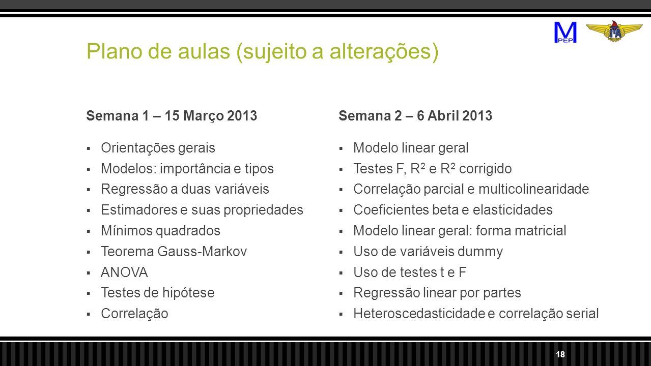 Plano de aulas (sujeito a alterações) Semana 1 – 15 Março 2013 Orientações gerais Modelos: importância e tipos Regressão a duas variáveis Estimadores