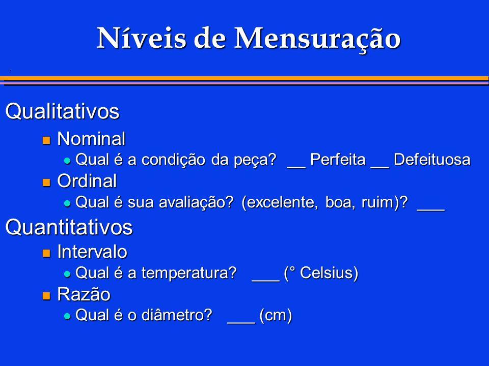 . Níveis de Mensuração Qualitativos Nominal Nominal Qual é a condição da peça? __ Perfeita __ Defeituosa Qual é a condição da peça? __ Perfeita __ Def