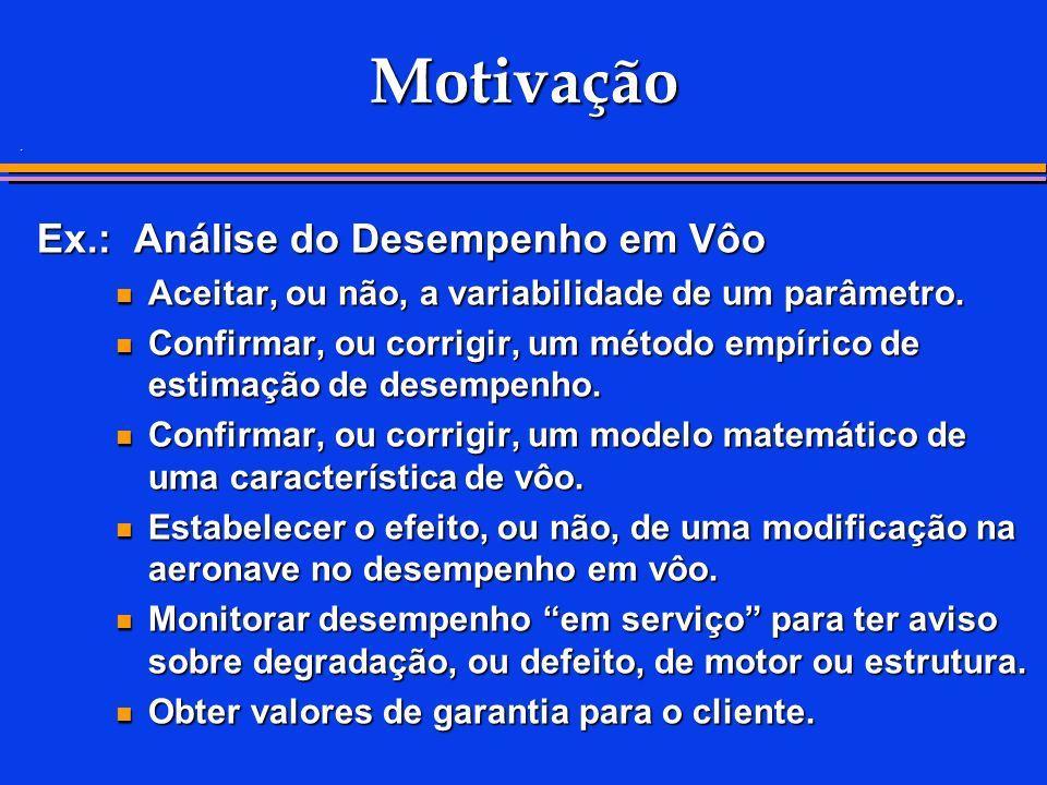 . Motivação Ex.: Análise do Desempenho em Vôo Aceitar, ou não, a variabilidade de um parâmetro. Aceitar, ou não, a variabilidade de um parâmetro. Conf