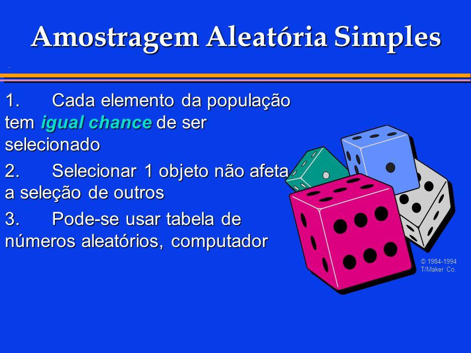 . 1.Cada elemento da população tem igual chance de ser selecionado 2.Selecionar 1 objeto não afeta a seleção de outros 3.Pode-se usar tabela de número