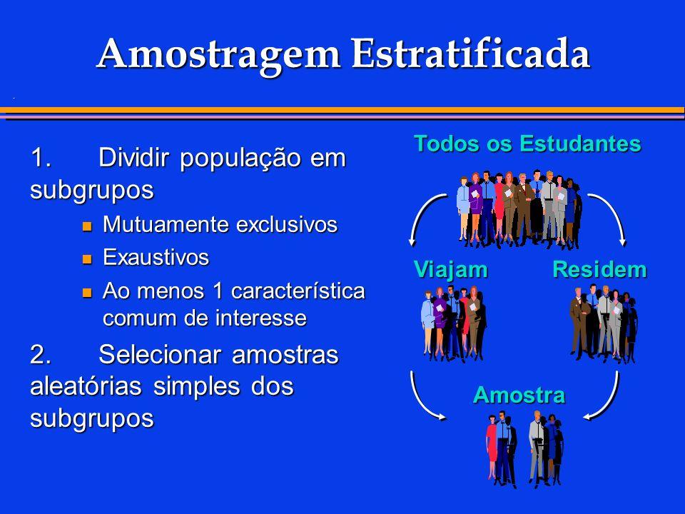 . 1.Dividir população em subgrupos Mutuamente exclusivos Mutuamente exclusivos Exaustivos Exaustivos Ao menos 1 característica comum de interesse Ao m