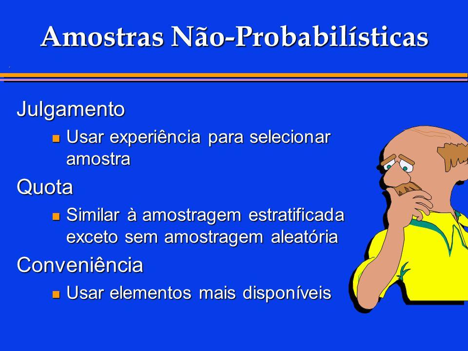 . Amostras Não-Probabilísticas Julgamento Usar experiência para selecionar amostra Usar experiência para selecionar amostraQuota Similar à amostragem