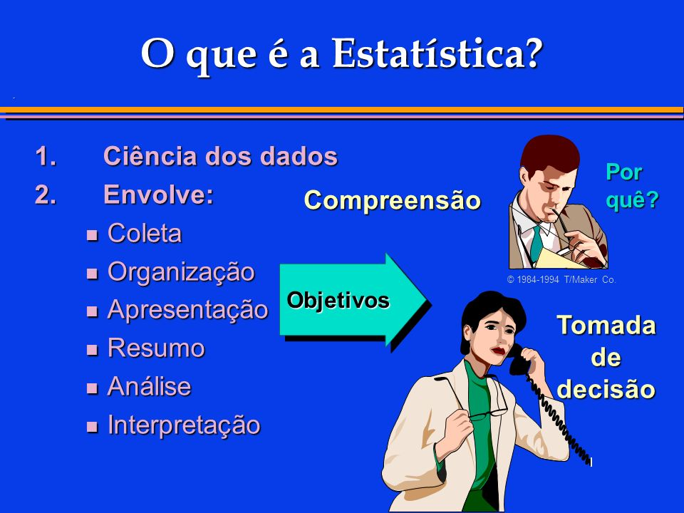 . O que é a Estatística? Por quê? 1.Ciência dos dados 2.Envolve: Coleta Coleta Organização Organização Apresentação Apresentação Resumo Resumo Análise