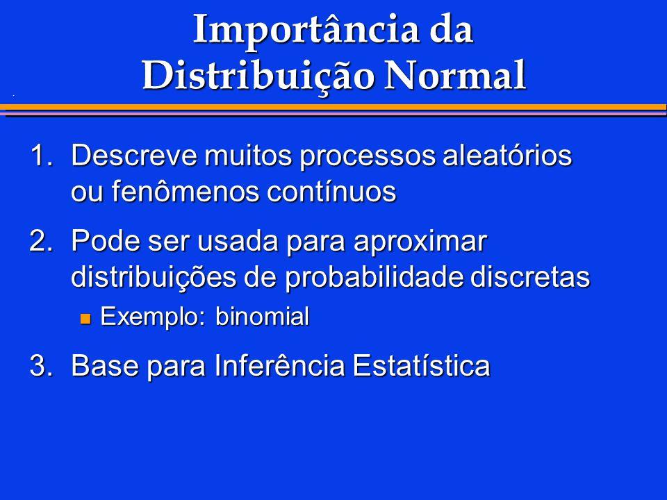 . Importância da Distribuição Normal 1.Descreve muitos processos aleatórios ou fenômenos contínuos 2.Pode ser usada para aproximar distribuições de pr