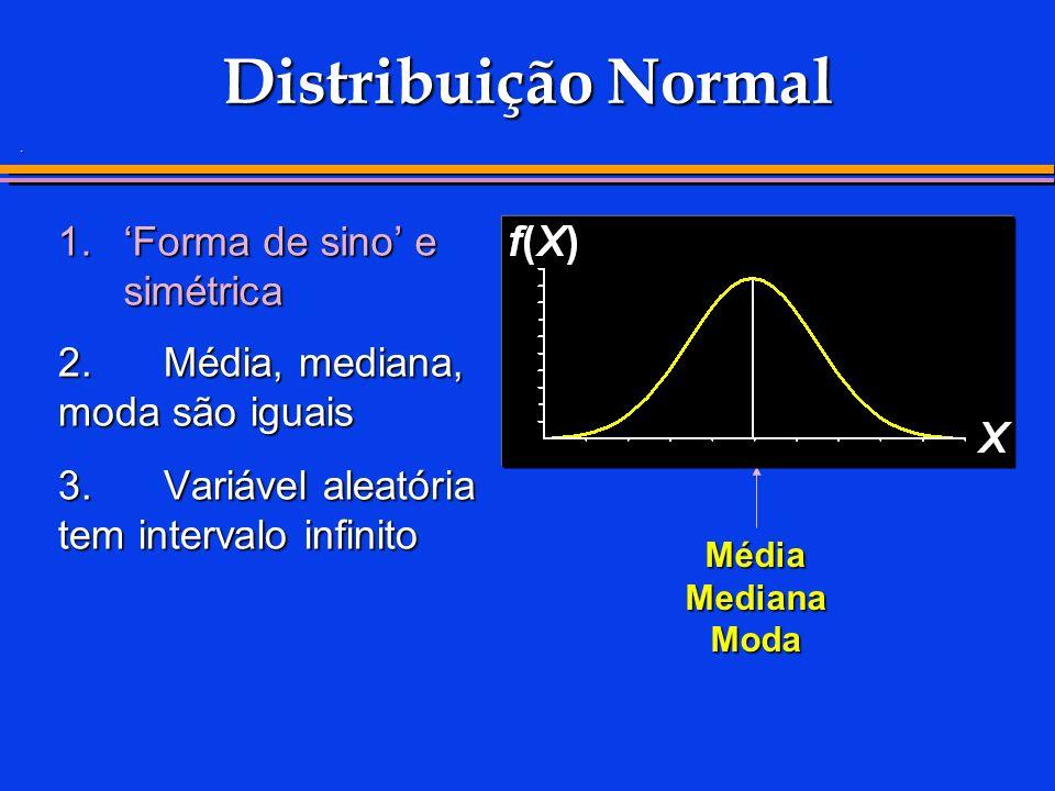 . 1.Forma de sino e simétrica Distribuição Normal 2.Média, mediana, moda são iguais 3. Variável aleatória tem intervalo infinito Média Mediana Moda