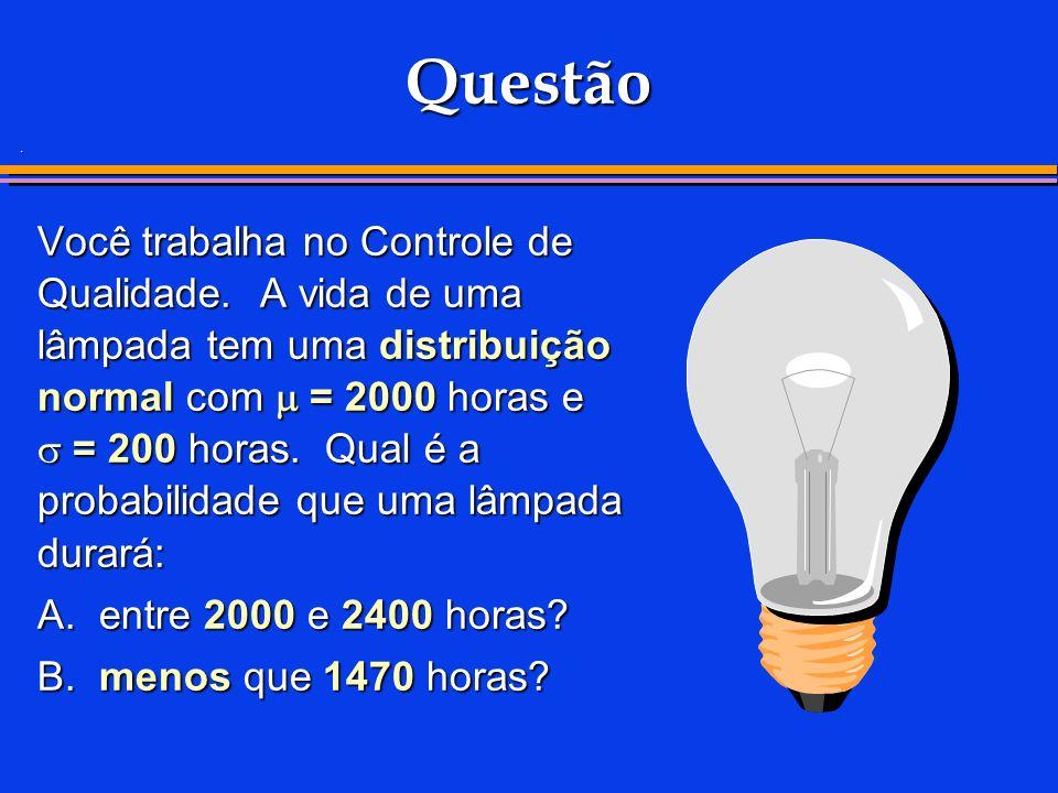 . Questão Você trabalha no Controle de Qualidade. A vida de uma lâmpada tem uma distribuição normal com = 2000 horas e = 200 horas. Qual é a probabili