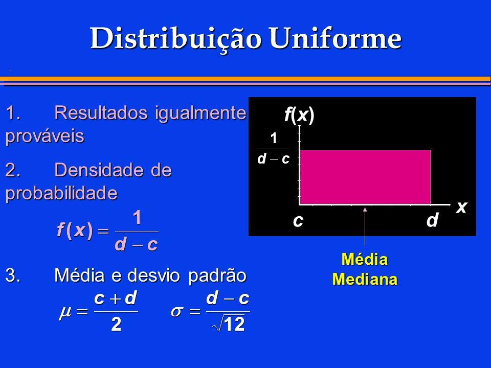 . 1.Resultados igualmente prováveis 2.Densidade de probabilidade 3.Média e desvio padrão Média Mediana x f(x)f(x) dc