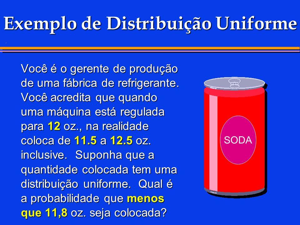 . Exemplo de Distribuição Uniforme Você é o gerente de produção de uma fábrica de refrigerante. Você acredita que quando uma máquina está regulada par