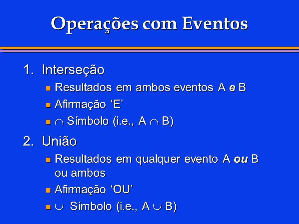 1.Interseção Resultados em ambos eventos A e B Resultados em ambos eventos A e B Afirmação E Afirmação E Símbolo (i.e., A B) Símbolo (i.e., A B) 2.Uni