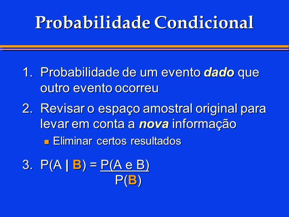 1.Probabilidade de um evento dado que outro evento ocorreu 2.Revisar o espaço amostral original para levar em conta a nova informação Eliminar certos