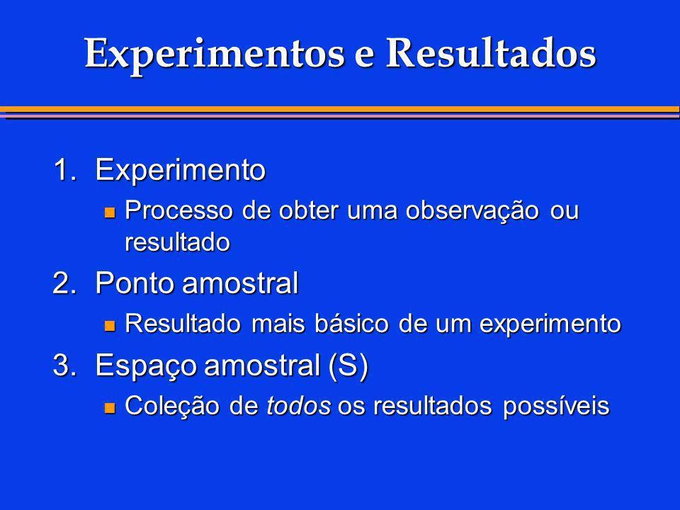 Experimentos e Resultados 1.Experimento Processo de obter uma observação ou resultado Processo de obter uma observação ou resultado 2.Ponto amostral R
