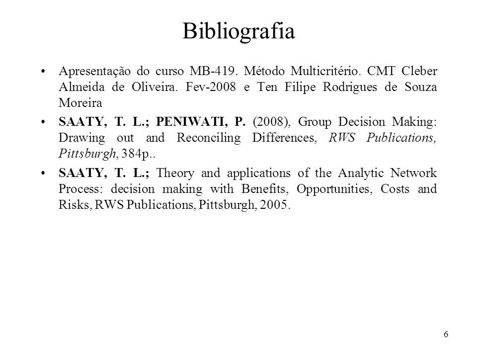 Bibliografia Apresentação do curso MB-419. Método Multicritério. CMT Cleber Almeida de Oliveira. Fev-2008 e Ten Filipe Rodrigues de Souza Moreira SAAT