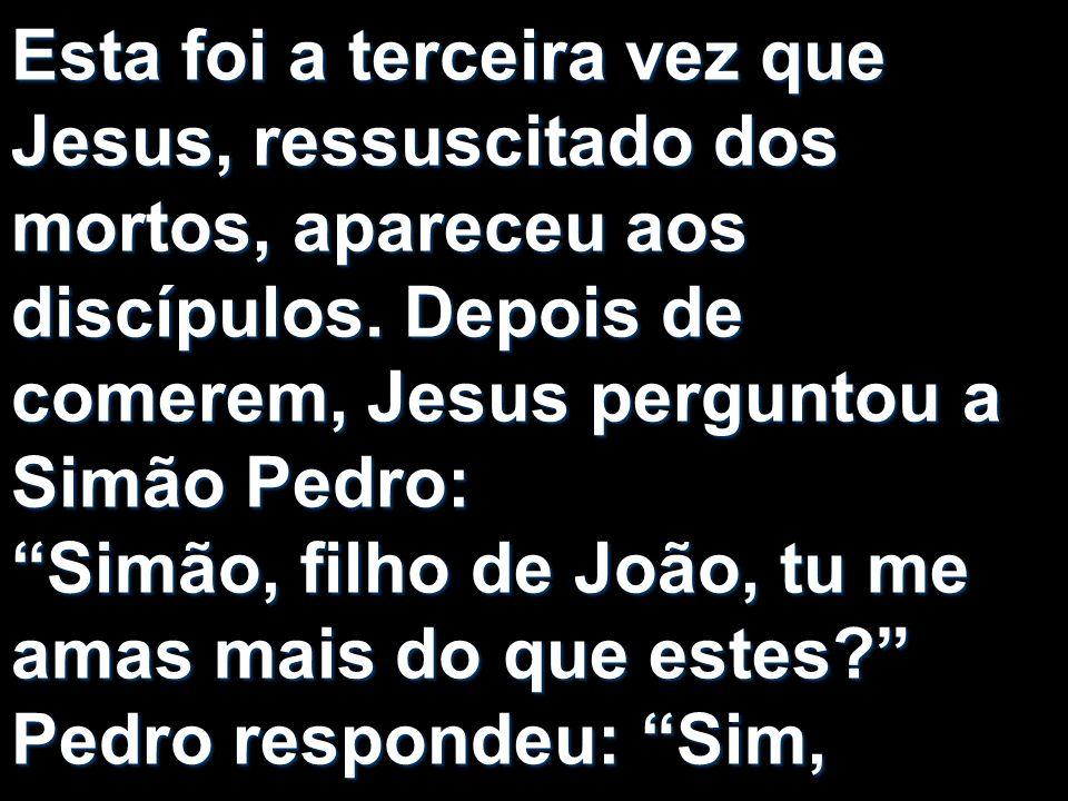 Esta foi a terceira vez que Jesus, ressuscitado dos mortos, apareceu aos discípulos. Depois de comerem, Jesus perguntou a Simão Pedro: Simão, filho de