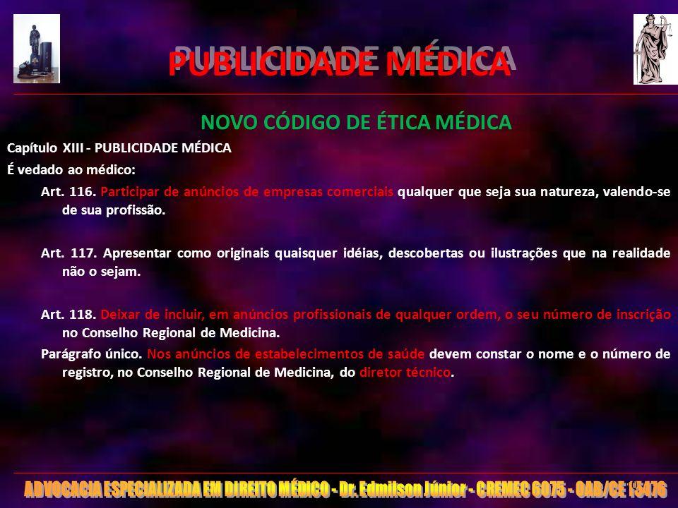 PUBLICIDADE MÉDICA NOVO CÓDIGO DE ÉTICA MÉDICA Capítulo XIII - PUBLICIDADE MÉDICA É vedado ao médico: Art. 116. Participar de anúncios de empresas com