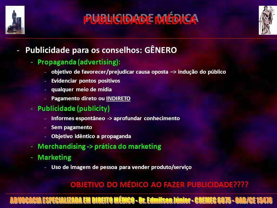 11 PUBLICIDADE MÉDICA -Publicidade para os conselhos: GÊNERO -Propaganda (advertising): -objetivo de favorecer/prejudicar causa oposta –> indução do p