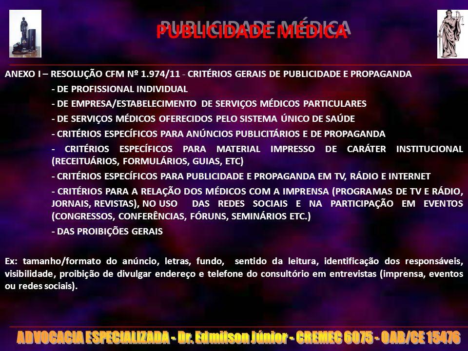 20 PUBLICIDADE MÉDICA ANEXO I – RESOLUÇÃO CFM Nº 1.974/11 - CRITÉRIOS GERAIS DE PUBLICIDADE E PROPAGANDA - DE PROFISSIONAL INDIVIDUAL - DE EMPRESA/EST