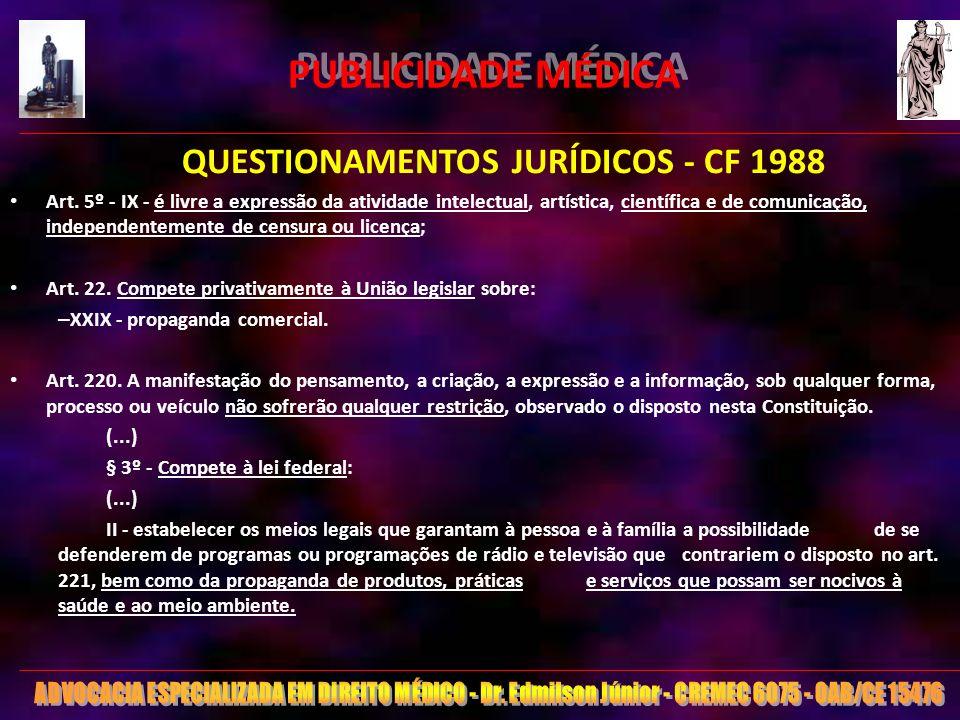 22 PUBLICIDADE MÉDICA QUESTIONAMENTOS JURÍDICOS - CF 1988 Art. 5º - IX - é livre a expressão da atividade intelectual, artística, científica e de comu