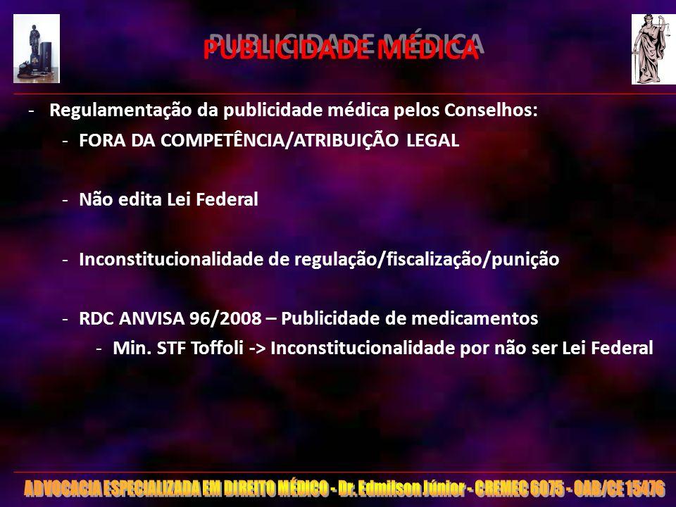 24 PUBLICIDADE MÉDICA -Regulamentação da publicidade médica pelos Conselhos: -FORA DA COMPETÊNCIA/ATRIBUIÇÃO LEGAL -Não edita Lei Federal -Inconstituc
