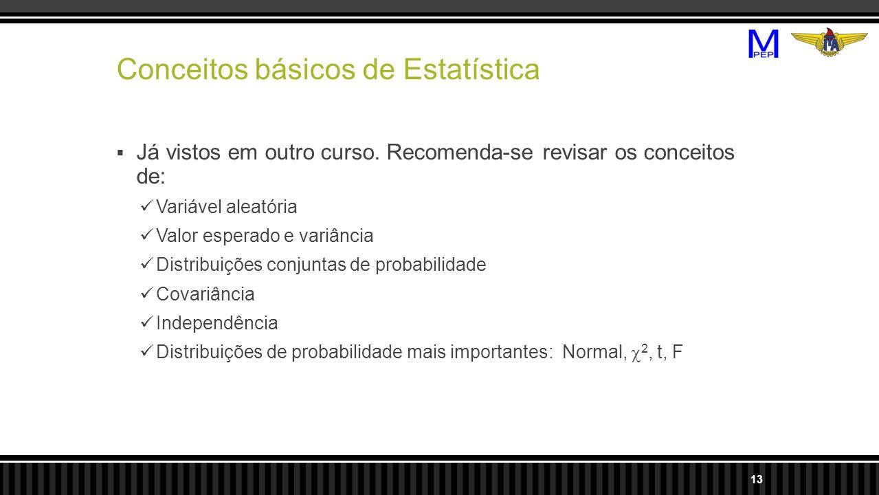 Conceitos básicos de Estatística Já vistos em outro curso. Recomenda-se revisar os conceitos de: Variável aleatória Valor esperado e variância Distrib