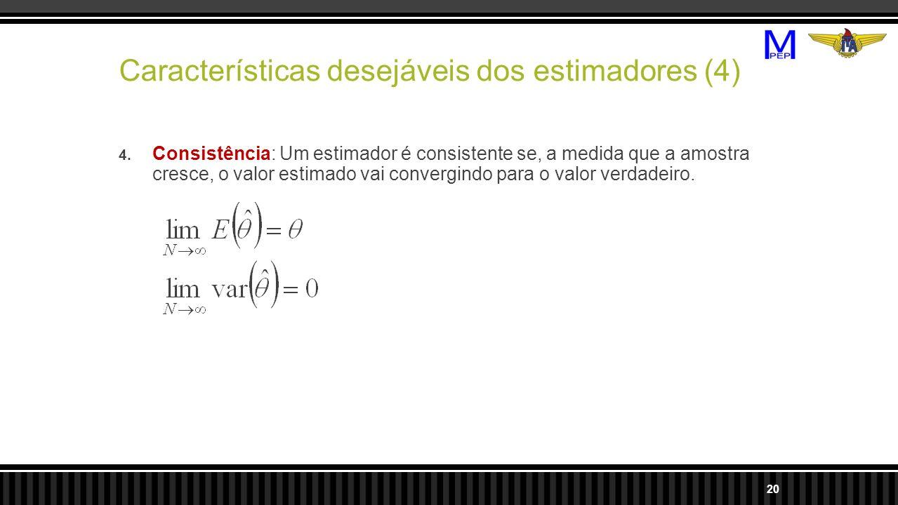 Características desejáveis dos estimadores (4) 4. Consistência: Um estimador é consistente se, a medida que a amostra cresce, o valor estimado vai con