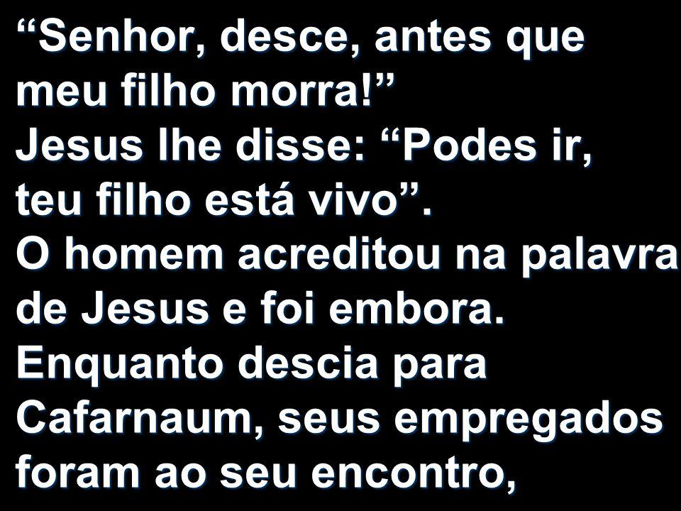 Senhor, desce, antes que meu filho morra! Jesus lhe disse: Podes ir, teu filho está vivo. O homem acreditou na palavra de Jesus e foi embora. Enquanto