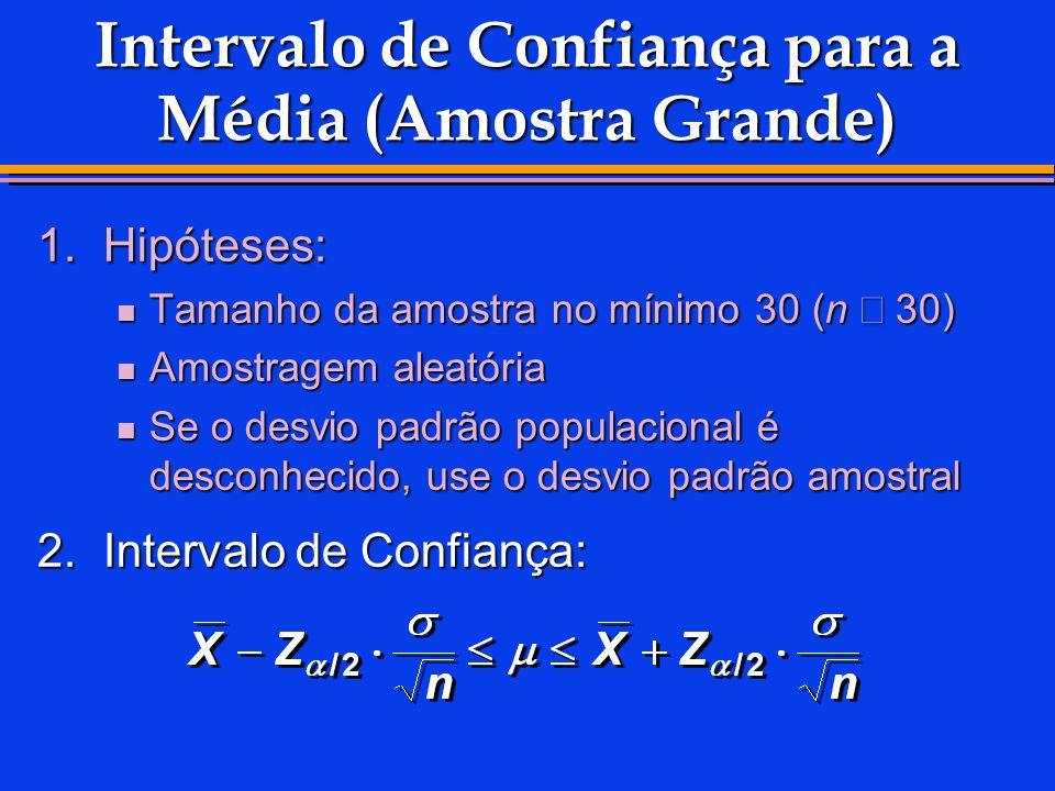 Intervalo de Confiança para a Média (Amostra Grande) 1.Hipóteses: Tamanho da amostra no mínimo 30 (n 30) Tamanho da amostra no mínimo 30 (n 30) Amostr