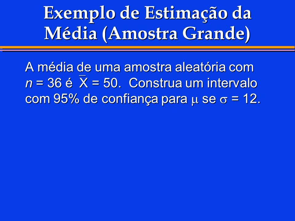 Exemplo de Estimação da Média (Amostra Grande) A média de uma amostra aleatória com n = 36 é X = 50. Construa um intervalo com 95% de confiança para s