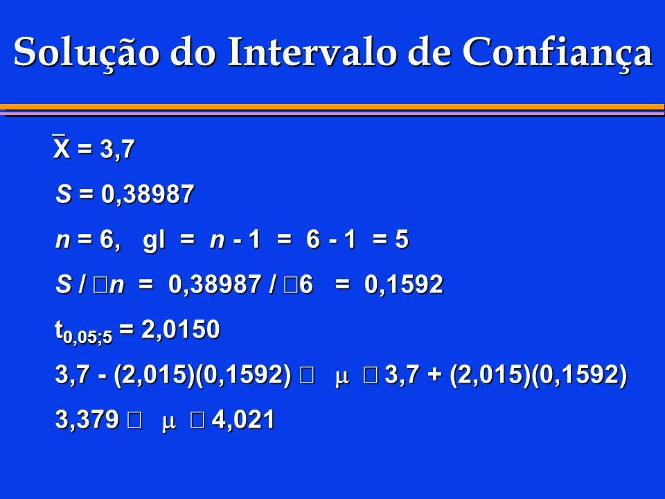 Solução do Intervalo de Confiança X = 3,7 X = 3,7 S = 0,38987 S = 0,38987 n = 6, gl = n - 1 = 6 - 1 = 5 n = 6, gl = n - 1 = 6 - 1 = 5 S / n = 0,38987