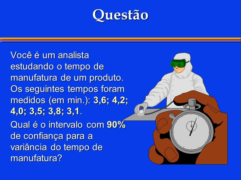 Questão Você é um analista estudando o tempo de manufatura de um produto. Os seguintes tempos foram medidos (em min.): 3,6; 4,2; 4,0; 3,5; 3,8; 3,1. Q