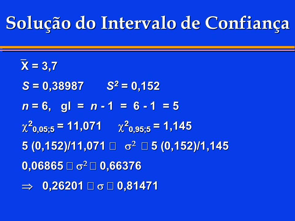 Solução do Intervalo de Confiança X = 3,7 X = 3,7 S = 0,38987 S 2 = 0,152 S = 0,38987 S 2 = 0,152 n = 6, gl = n - 1 = 6 - 1 = 5 n = 6, gl = n - 1 = 6