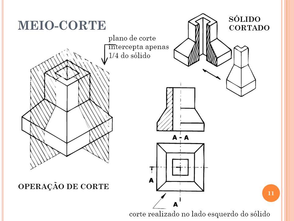 MEIO-CORTE 11 OPERAÇÃO DE CORTE plano de corte intercepta apenas 1/4 do sólido SÓLIDO CORTADO corte realizado no lado esquerdo do sólido