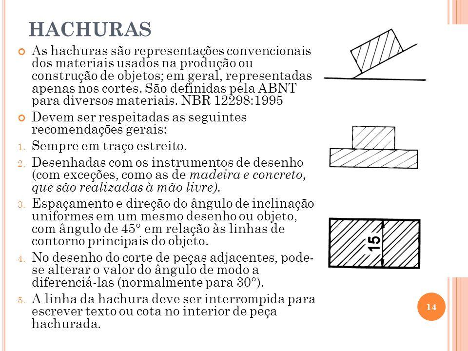 HACHURAS As hachuras são representações convencionais dos materiais usados na produção ou construção de objetos; em geral, representadas apenas nos co