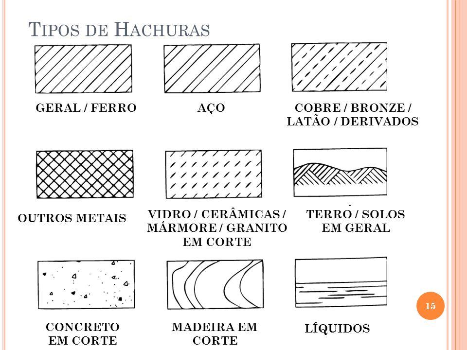 T IPOS DE H ACHURAS 15 GERAL / FERROAÇOCOBRE / BRONZE / LATÃO / DERIVADOS OUTROS METAIS VIDRO / CERÂMICAS / MÁRMORE / GRANITO EM CORTE TERRO / SOLOS E