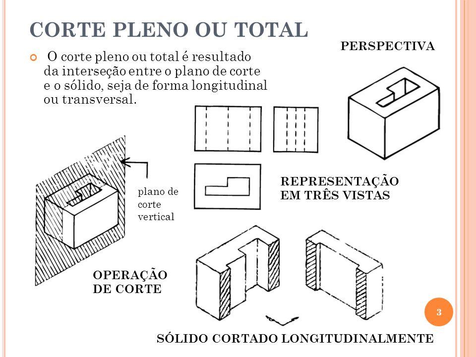 CORTE PLENO OU TOTAL O corte pleno ou total é resultado da interseção entre o plano de corte e o sólido, seja de forma longitudinal ou transversal. 3