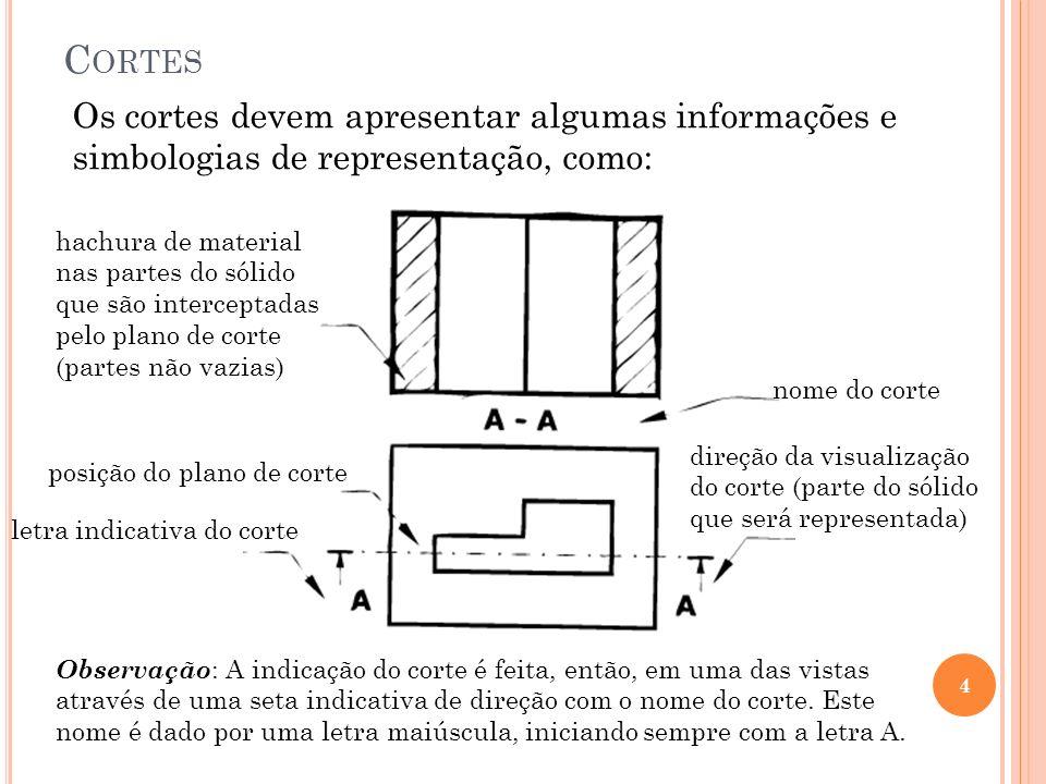 C ORTES 4 Os cortes devem apresentar algumas informações e simbologias de representação, como: hachura de material nas partes do sólido que são interc